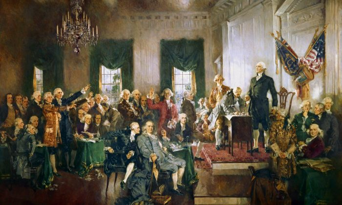 """""""Scene at the Signing of the Constitution of the United States"""" by  Howard Chandler Christy. (Public domain)"""