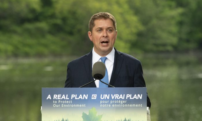 Conservative Leader Andrew Scheer delivers a speech on the environment in Chelsea, Que. on June 19, 2019. (The Canadian Press/Adrian Wyld)