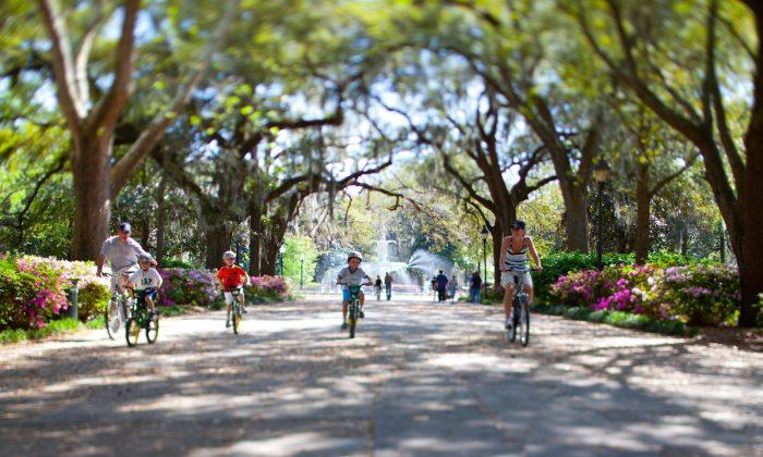 Biking in Forsyth Park.  (Visit Savannah)