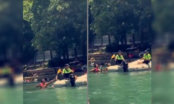 San Antonio boat enthusiast Steve Perez catches the last drops of confiscated liquor at Comal River, Texas, on June 23, 2019. (Courtesy of Steve Perez/Twitter)