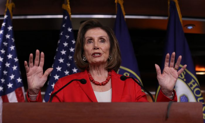 Speaker of the House Nancy Pelosi (D-Calif.) answers questions during her weekly press conference at the U.S. Capitol in Washington, on June 27, 2019. (Win McNamee/Getty Images)