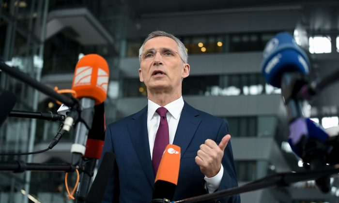 NATO Secretary General Jens Stoltenberg gives a joint press during a Defence Ministers meeting at the NATO headquarters in Brussels on June 26, 2019.  (JOHN THYS/AFP/Getty Images)