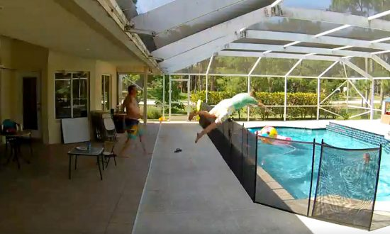 Chilling Video Shows Toddler Falling Into Fenced Swimming Pool Within Seconds