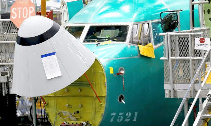 The angle of attack sensor, at bottom center, is seen on a 737 Max aircraft at the Boeing factory in Renton, Washington, U.S., March 27, 2019. (Reuters/Lindsey Wasson/File Photo)