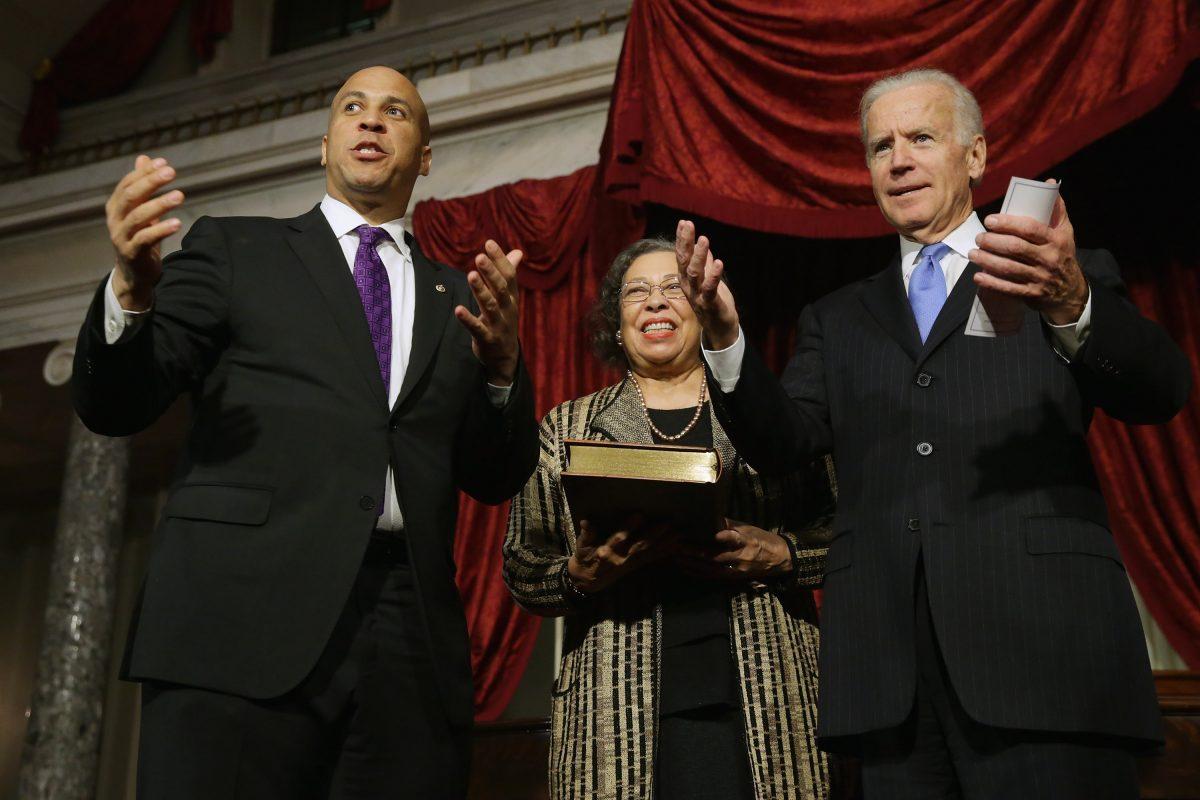 Sen. Cory Booker and U.S. Vice President Joe Biden