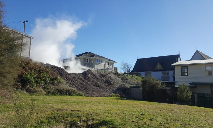 The Geyser which sprang up overnight on the lawn of a house in Rotorua, New Zealand on June 26. (Facebook/Rotorua Lakes Council)