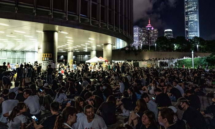Protesters gather outside the Legislative Council in Hong Kong on June 28, 2019. (ANTHONY WALLACE/AFP/Getty Images)