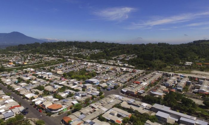 The Alta Vista neighborhood of San Martin, El Salvador, where migrant Oscar Alberto Martinez and his daughter Valeria used to lived, is seen from the air on June 27, 2019. (Salvador Melendez/Photo via AP)