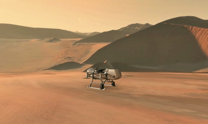 This illustration shows NASA's Dragonfly rotorcraft-lander approaching a site on Saturn's exotic moon, Titan. (JHU-APL/NASA)