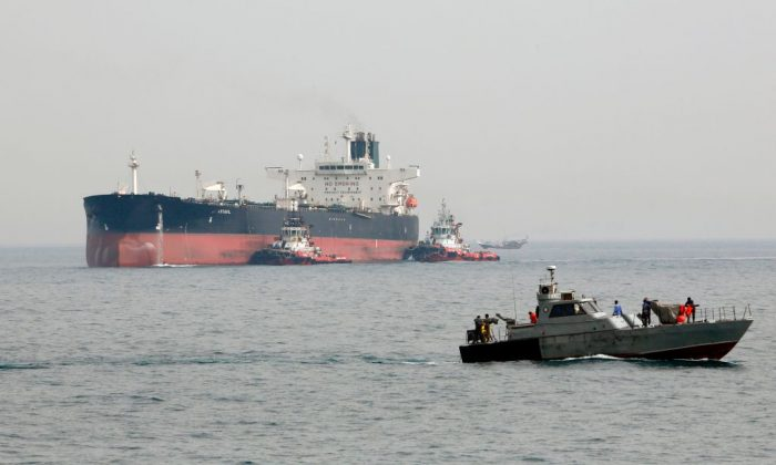 An oil tanker in the Khark Island, on the shore of the Gulf on March 12, 2017. (Marcos Moreno/AP Photo)