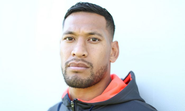 Israel Folau poses before a Wallabies training session at NSWRL Centre of Excellence Field in Sydney, Australia on Aug. 14, 2018. (Mark Metcalfe/Getty Images)