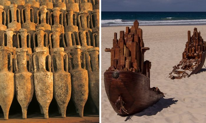 Stock image of Roman amphorae. (Stux/Pixabay) and stock image of a shipwreck sculpture (Sandid/Pixabay).