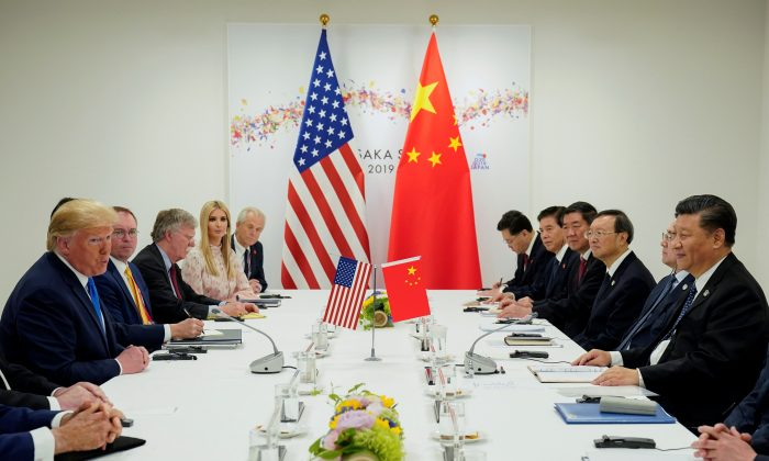 President Donald Trump meets with Chinese Leader Xi Jinping at the start of their bilateral meeting at the G20 leaders summit in Osaka, Japan on June 29, 2019. (Reuters/Kevin Lamarque)