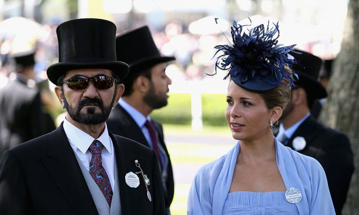 Sheikh Mohammed bin Rashid Al Maktoum and Princess Haya bint Al Hussein attend day one of Royal Ascot at Ascot Racecourse in Ascot, England on June 17, 2014. (Chris Jackson/Getty Images for Ascot Racecourse)