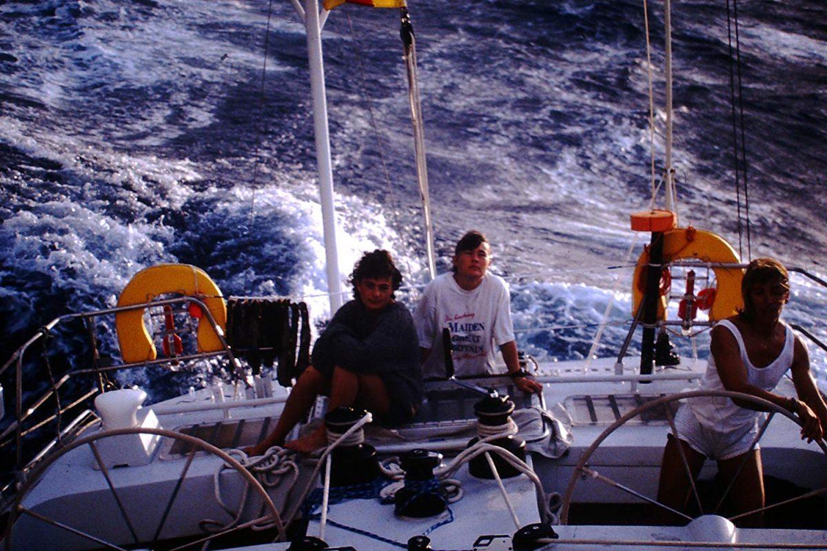 Three women on board a sailing boat