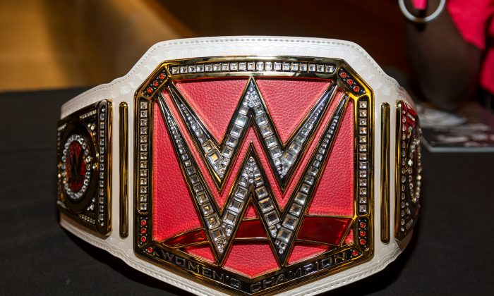 WWE Championship Belt presented during the Beyond Sport United 2016 at Barclays Center on August 9, 2016 in Brooklyn, New York. (Roy Rochlin/Getty Images)