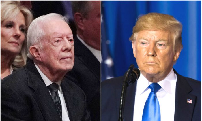 Former President Jimmy Carter and President Donald Trump in file photos. (Mandel Ngan/AFP/Getty Images and Tomohiro Ohsumi/Getty Images)