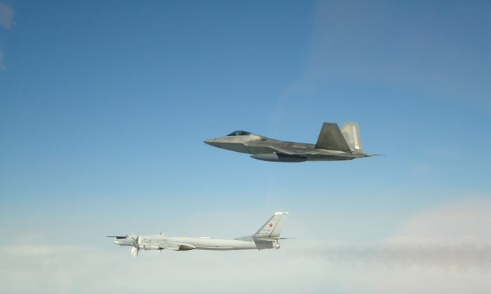 US F-22 stealth jets intercepted four Russian bombers and two Russian Su-35 fighter jets off the coast of Alaska, according to a statement from North American Aerospace Defense Command, on May 20, 2019. (Norad Command)