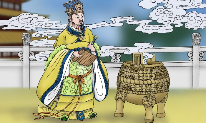 King Zhou of the Shang Dynasty. He created the Cannon of Burning Punishment. (Sun Mingguo / The Epoch Times)