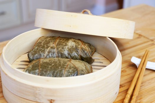 Chicken Sticky Rice in lotus leaves in steamer basket