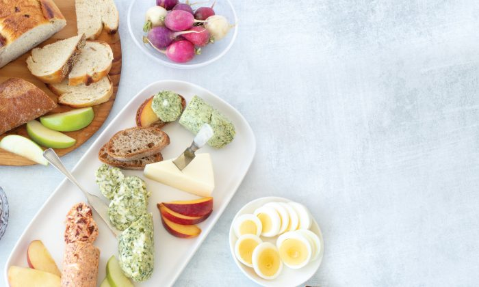 Add compound butters to a grazing board of bread, cheese, and fruits and veggies for easy entertaining. (Leslie Lennox)