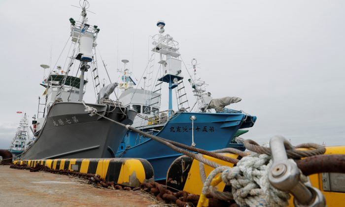 Whaling ships which are set to join the resumption of commercial whaling at anchor at a port in Kushiro, Hokkaido Prefecture, Japan on June 30, 2019. (Kim Kyung-Hoon/Reuters)