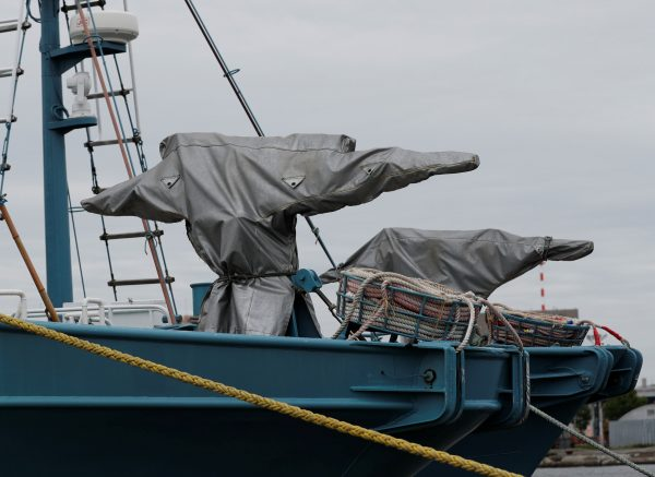 Whaling guns in covers are seen on whaling ships which are set to join the resumption of commercial whaling at anchor at a port in Kushiro