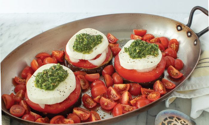 A dollop of pesto adds the finishing touch to these summery stacks. (Leslie Lennox)