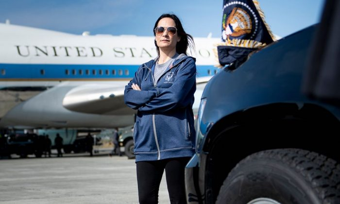 Acting White House Press Secretary Stephanie Grisham waits as Air Force One is refuelled at Elmendorf Air Force Base while travelling to Japan June 26, 2019, in Anchorage, Alaska. (Brendan Smialowski/AFP/Getty Images)