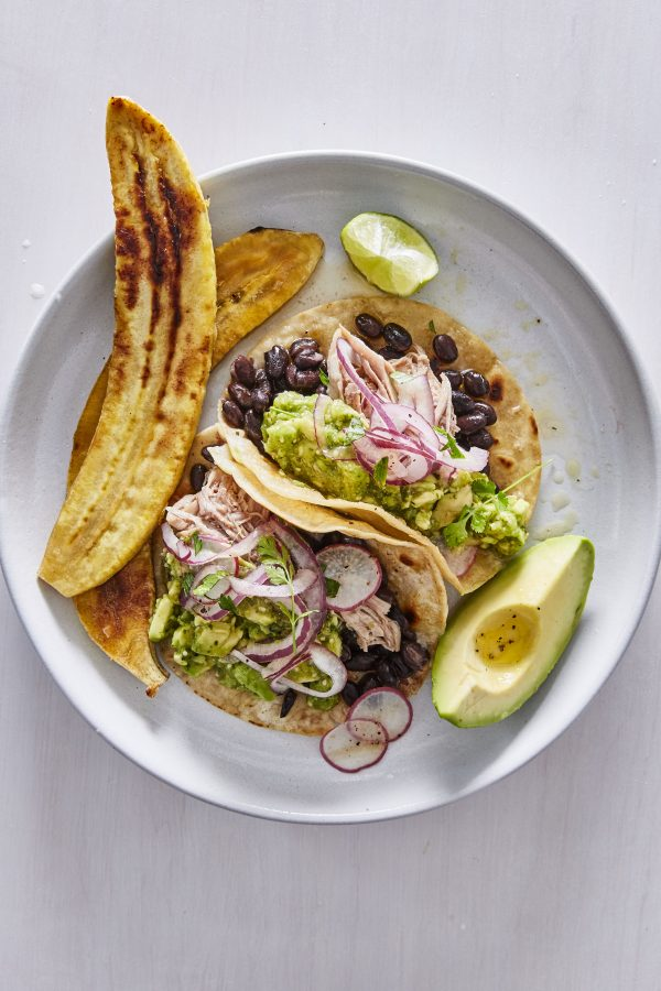 pulled pork tacos with plantains