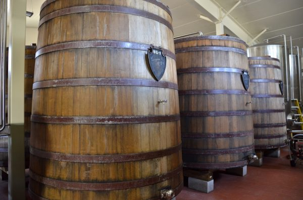 sour beer ages in oak barrels at new glarus brewing co