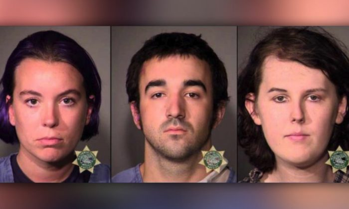 From left, police booking photos of Maria Dehart, Gage Halupowski and James Stocks. (Portland Police Bureau)