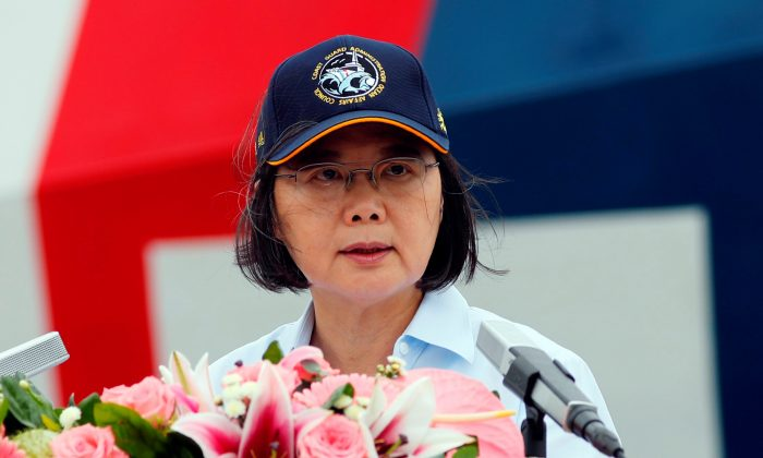 Taiwan President Tsai Ing-wen speaks at Taipei Port in New Taipei City, Taiwan, on May 4, 2019. (Tyrone Siu/Reuters)