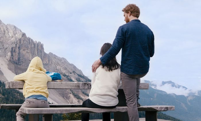 """(L–R) Can these three form a family? Tristan (Arian Montgomery), his mother (Bérénice Bejo), and his mother's boyfriend (Alexander Fehling), in """"Three Peaks."""" (Greenwich Entertainment)"""