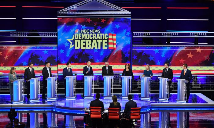 The second Democratic primary debate of the 2020 presidential campaign season at the Adrienne Arsht Center for the Performing Arts in Miami, Fla., on June 27, 2019. (SAUL LOEB / AFP)