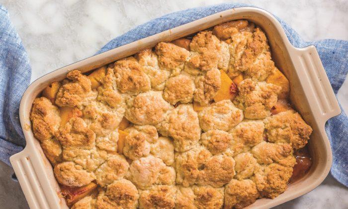 """Rucker's peach and ricotta biscuit cobbler, from """"Dappled."""" (Alan Gastelum)"""