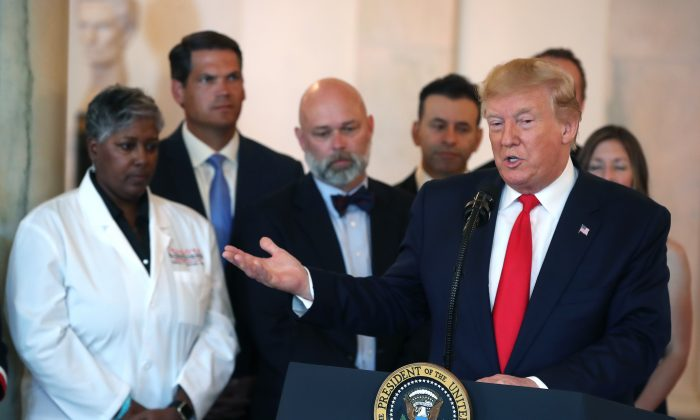 President Donald Trump speaks before signing an executive order intended to improve quality and price transparency in healthcare during an event in the Grand Foyer of the White House on June 24, 2019. (Mark Wilson/Getty Images)