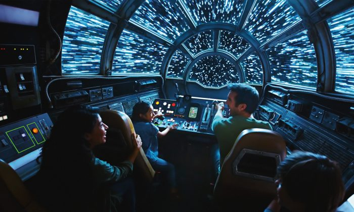 Inside Millennium Falcon: Smugglers Run, guests take the controls aboard the fastest ship in the galaxy. (Disney Parks)