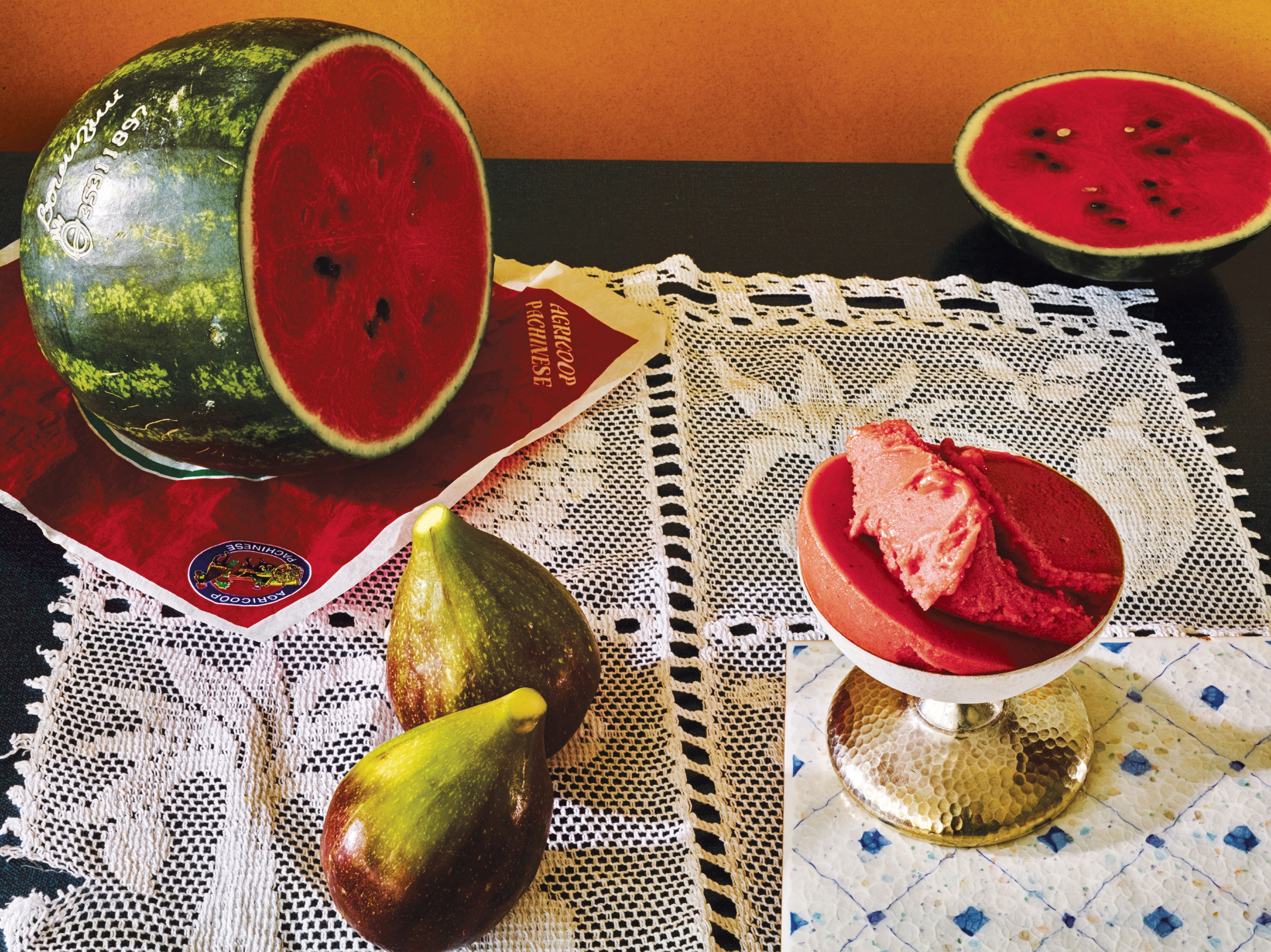 Wild fig and watermelon sorbet