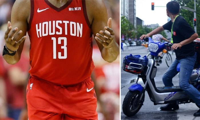 (R) James Harden on court. (Bob Levey/Getty Images) -- (R) A man on a moped in China. (Wang Zhao/AFP/Getty Images)