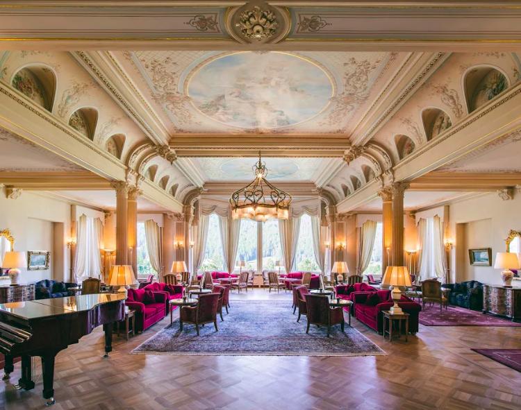 lobby of Grand Hotel Kronenhof Pontresina