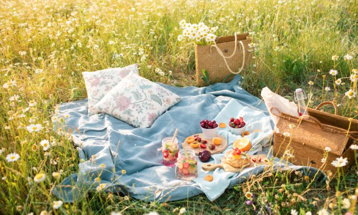 A picnic in a flower field with fruits, lemonade, and dessert.  (Shutterstock)