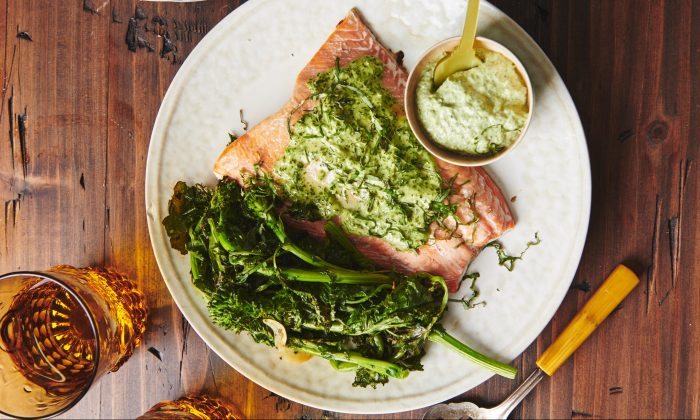 An herbed mayo speckled with bright green pairs beautifully with lush, pink salmon. (Cheyenne Cohen)