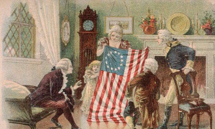A picture portrays American seamstress Betsy Ross showing the first design of the American flag to George Washington in Philadelphia. (Hulton Archive/Getty Images)