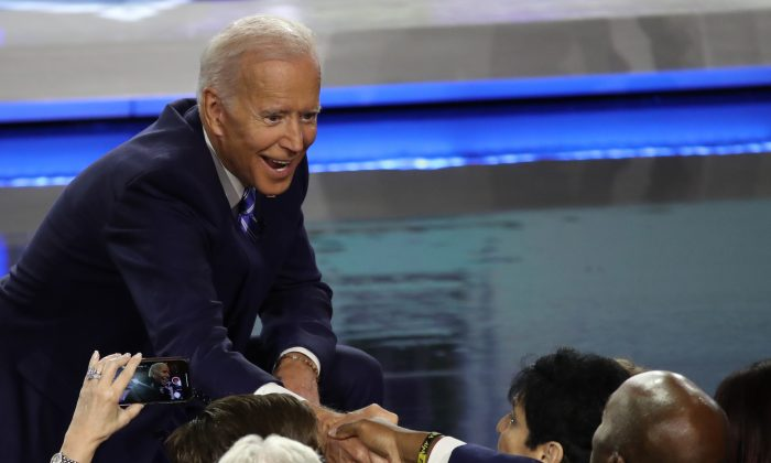 Democratic presidential candidate former Vice President Joe Biden greets members of the audience after the second night of the first Democratic presidential debate in Miami, Florida, on June 27, 2019. (Drew Angerer/Getty Images)