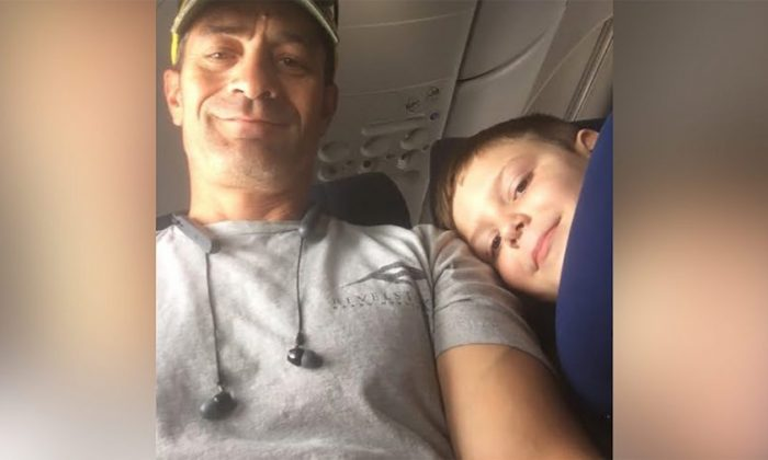 Ben Pedraza and Landon, who has autism, shared a flight from Las Vegas to Oregon on June 27. (Ben Pedraza via CNN)