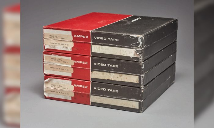 Three videotapes bought by a NASA intern in 1976, which according to Sotheby's is said to be the only surviving original Apollo 11 recording of man's first steps on the moon, are shown in this handout photo taken on June 14, 2019, and obtained by Reuters on June 27, 2019.  (Sotheby's/Handout via Reuters)