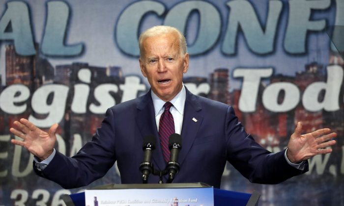 Former vice president Joe Biden addresses the Rainbow PUSH Coalition Annual International Convention in Chicago on June 28, 2019. (Charles Rex Arbogast/AP Photo)