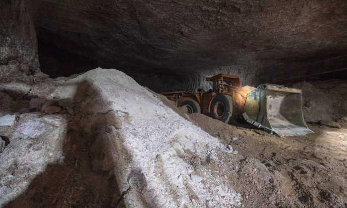 A piece of machinery sits underground at a potash mine in Esterhazy, Sask. on May 3, 2017. (Liam Richards/The Canadian Press)
