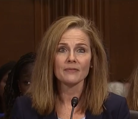 Amy Coney Barrett at her confirmation hearing for the 7th Circuit Court of Appeals in Washington on Sept. 6, 2017. (Public Domain from C-Span)